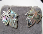Sterling Taxco Abalone Screw Back Leaf Design Earrings -Marked 925 TAXCO Vintage