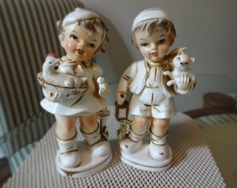 Boy and Girl Gold and White Vintage Figurines by Brinns
