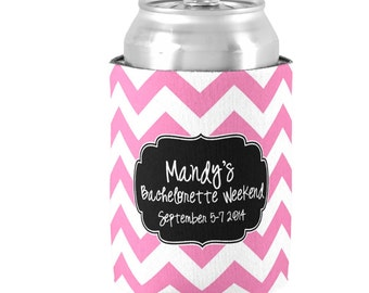 Set of 7 Personalized Can Coolers -  Bachelorette Party Favors - Bridal Shower Favors - Cruise Coolies - Birthday Huggies - Choose Colors