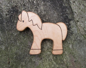 Horse Wood Toy, Maple - pony - natural wooden toy for baby, or toddler toy