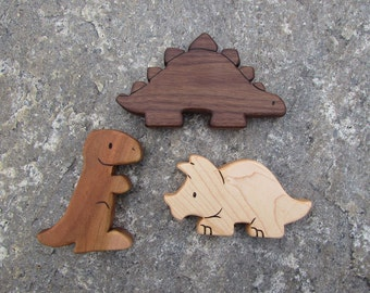 DINOSAUR SET - 3 Wooden Toy Animals - T-Rex, Stegosaurus, Triceratops - all natural teethers and Waldorf toddler toys