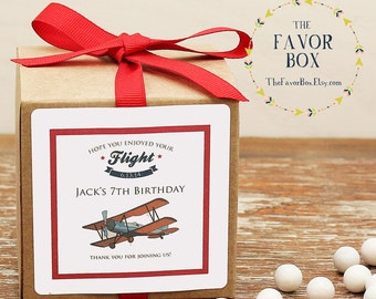 12 - Personalized Airplane Party Favor Boxes - Airplane Label - Boys Party Favors, Personalized Favor Box, Aviation Party Favors