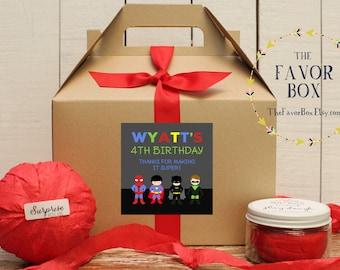 Set of 6 - Super Hero Birthday Party Favor Boxes // Super Hero Party Favor // Super Hero Birthday Party // Super Hero Goody Box