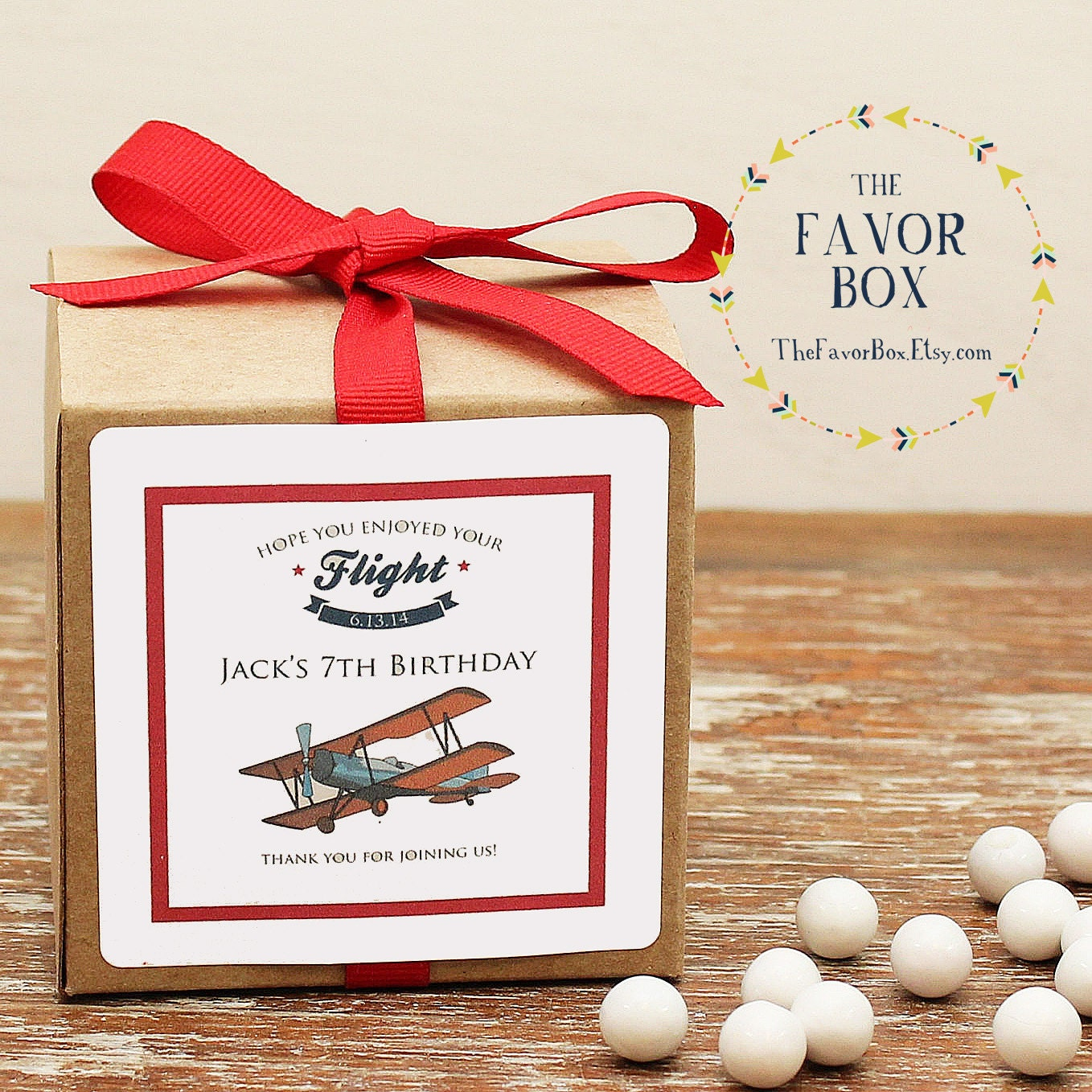 Airplane Birthday Party Favor Tags: 12 Personalized Airplane Party Favor Boxes Airplane Label