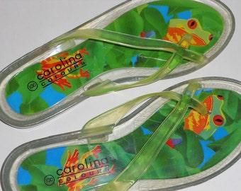 Frog Flip Flops, Sandals Women Size 8 Vintage Shoes, Slip Ons, Flats