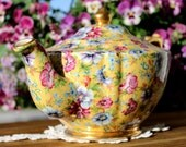 Sophie Chintz - James Sadler Transferware Yellow Floral Teapot 12978