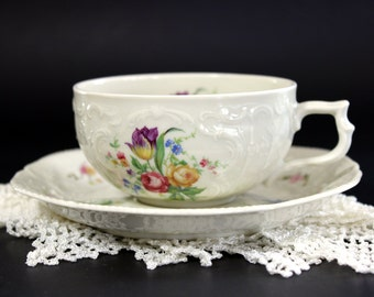 Selb Germany, Antique White Teacup and Saucer, Bavaria Teacups 13205