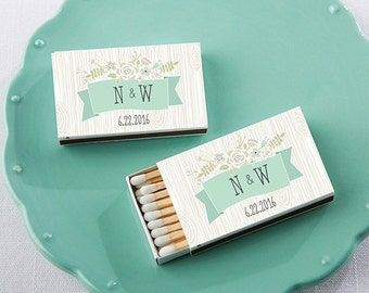 Set of 50 Personalized White Rustic Matchboxes Wedding Party Matchbox Chic Bridal Shower