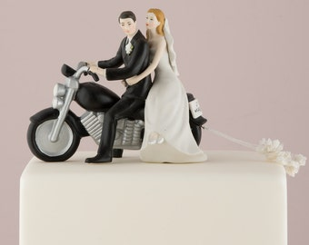 Customized Motorcycle Wedding Bride and Groom Couple Wedding Cake Topper Personalized Hair Color Romantic Gift Bicycle Bike Biker Wedding