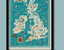 Illustrated Map Print .  Mid Century Britain and Ireland Large A2 (40x60 cm ) Poster
