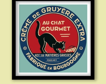 Vintage French Cheese Label Print . Art Deco Cat 30 x 30 cm Poster