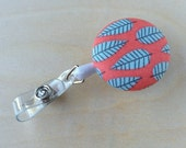 Retractable Badge Reel Holder - Salmon Silver Leaf