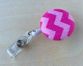 Retractable Badge Reel Holder - Pink Tonal Chevron
