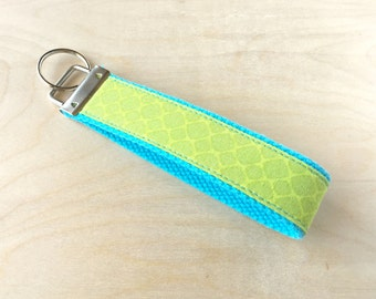 Fabric wristlet keychain, key fob - Turtle Shell