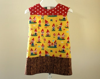 Cap Sleeve Color Block Gnome Dress With Polka Dots and Woodgrain. Ready to Ship in Size 12 Months.