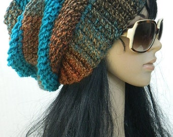 Long Beanie Hats Winter Slouchys Fall Fashion Women's And Teen Girls knit Hats Crochet Beanies In Teal Burnt orange And Brown