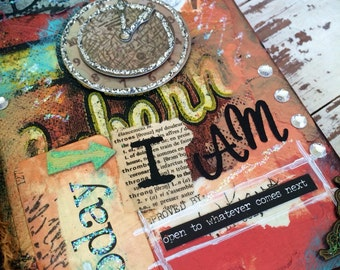 """Original Mixed Media Small Journal """"today I am..."""" [80 lined pages]"""