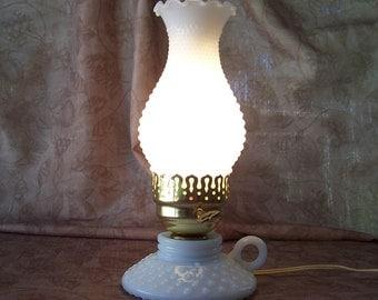 Vintage pair white hobnail milk glass hurricane lamps.  B267-4