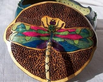 Small teal gourd box wood burn dragonfly lid. 1912.