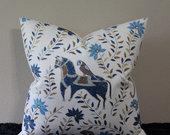 "Duralee Mahout Horse Print - in the Blue/Brown Colorway - 16"",18"",20"",22"" or 24"" Square  Pillow Cover"