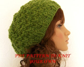Knitting hat pattern adult moss stitch hat - PDF knitting pattern instant download knitting pattern DIY beanie pattern Sandy Coastal Designs