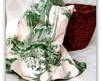Vintage English Toile Fabric Yardage - English Country House Style -Quick Sew - Summer House Freshen Up
