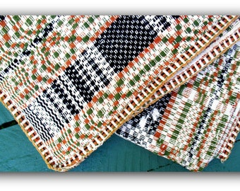 """Antique Hand Woven """"Heirloom Quality"""" Dobby Coverlet- Village Square Pattern  Blanket  -New England 19th C. Linen /Wool Blanket"""