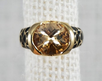 Kenneth Jay Lane Designer Gold Tone with Black Enamel Citrine Golden Topaz Crystal Ring