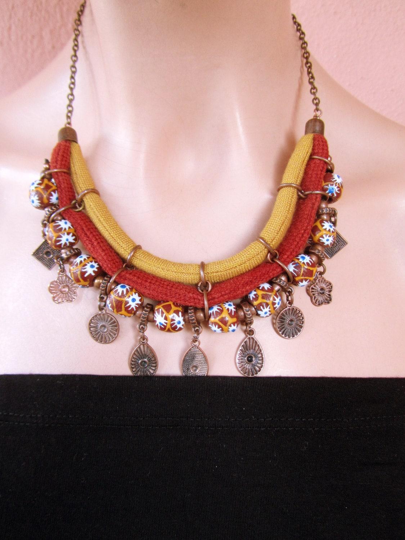 ethnic beaded necklace jewelry ecofriendly glass