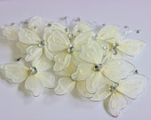 "Ivory Nylon Butterflies 2"" 10+ Pieces Wedding / Shower / Flower Arrangements / Embellishments"
