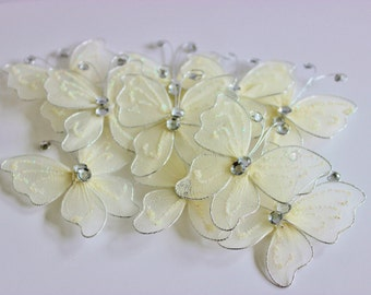 "Ivory Nylon Butterflies 2"" 10+ Pieces Wedding / Shower / Flower Arrangements / Embellishments"