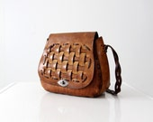 vintage 60s basket weave leather bag, hippie purse