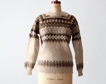 FREE SHIP vintage 70s fair isle sweater, nordic ski sweater
