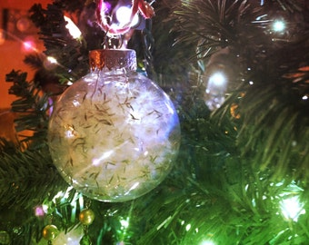 Dandelion filled glass ornament