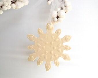 Ceramic Ornament White on White Snowflake