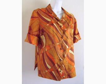 1950s-1960s Peck & Peck abstract blouse / shirt / Fifth Avenue / Vera Style abstract pattern /