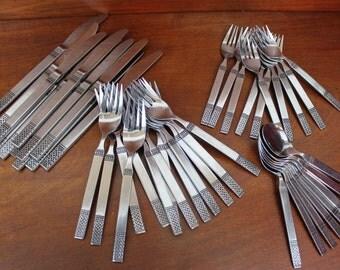 DANIKA Service Merchandise Vintage Flatware knots embossed black background vintage utensils cutlery Silverware vintage replacement BIN 50