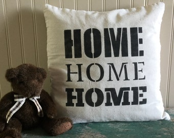 "18"" x 18"" Cotton Pillow Cover 'HOME'"