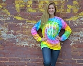 Monogram Long Sleeve Tie Dye Shirt - Saturn - Long Sleeve - Sorority Gift  - Bridesmaid Gift