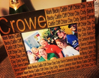 Personalized Laser engraved Alder wood Family picture frame