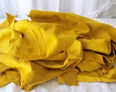 Mustard Yellow Garment Suede Split Hide Pieces Scrapes 7 Ounces Craft Supplies Leather Crafts