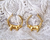 Vintage Articulated Cat Earrings Goldtone Cat Pierced Earrings Vintage 1980s