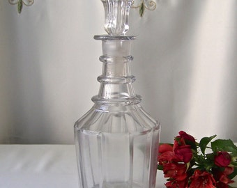 Antique Crystal Ring Neck Decanter American Cut Glass Decanter Serving Vessel Wine Decanter circa Early 1900s
