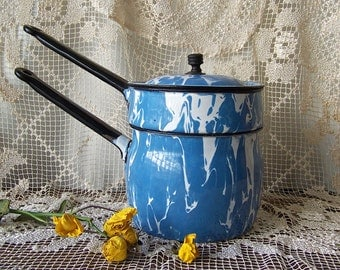 Vintage Graniteware Blue Swirl Double Boiler Enamel Ware Shabby Cottage Decor Enamelware ca 1880