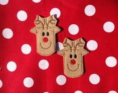 REINDEER - 2 OVERSIZED Machine Embroidered Embellishments / Appliqués - Ready To Ship