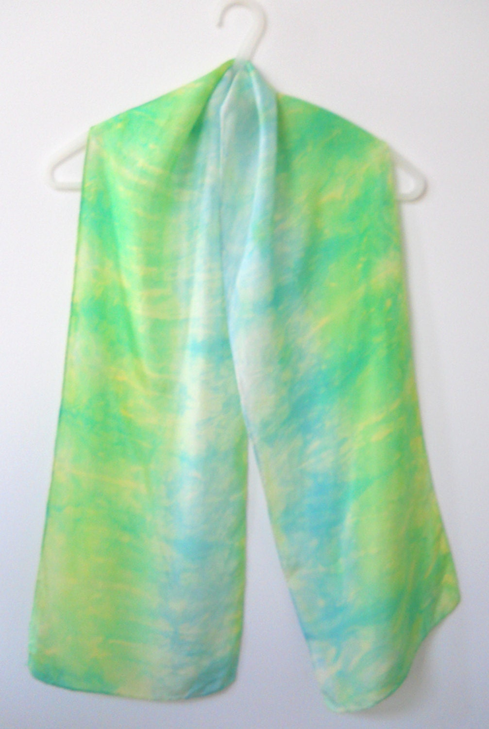 dyed silk scarf green baby blue 10 by