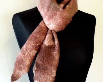 Rich chocolate brown on white organic merino wool wet felted scarf 'Cappuccino'