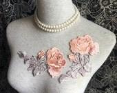 Vintage Applique - 2 PCS Light Pink and Grey Leaf Roses Applique Lace (A359)