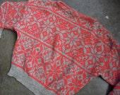 Vtg Benetton Italian Shetland Wool Nordic Ski Knit Sweater /Coral Heather Grey Size Medium Large