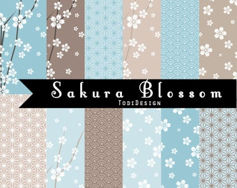 Velvet Sakura Blossom Digital Paper set- Japanese sakura digitals